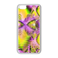 Golden Violet Crystal Heart Of Fire, Abstract Apple Iphone 5c Seamless Case (white) by DianeClancy
