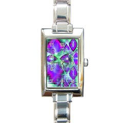 Violet Peacock Feathers, Abstract Crystal Mint Green Rectangular Italian Charm Watch by DianeClancy