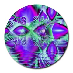 Violet Peacock Feathers, Abstract Crystal Mint Green 8  Mouse Pad (round) by DianeClancy