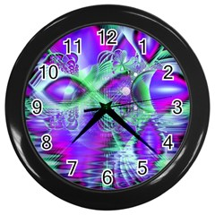 Violet Peacock Feathers, Abstract Crystal Mint Green Wall Clock (black) by DianeClancy