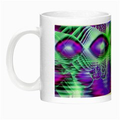 Violet Peacock Feathers, Abstract Crystal Mint Green Glow In The Dark Mug by DianeClancy