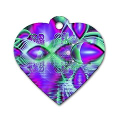 Violet Peacock Feathers, Abstract Crystal Mint Green Dog Tag Heart (two Sided) by DianeClancy