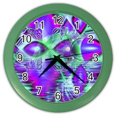 Violet Peacock Feathers, Abstract Crystal Mint Green Wall Clock (color) by DianeClancy