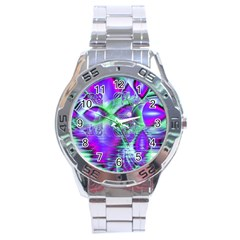 Violet Peacock Feathers, Abstract Crystal Mint Green Stainless Steel Watch