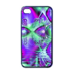 Violet Peacock Feathers, Abstract Crystal Mint Green Apple Iphone 4 Case (black) by DianeClancy