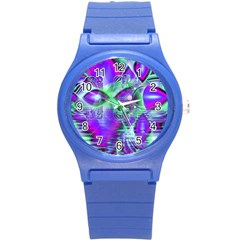 Violet Peacock Feathers, Abstract Crystal Mint Green Plastic Sport Watch (small) by DianeClancy