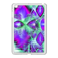 Violet Peacock Feathers, Abstract Crystal Mint Green Apple Ipad Mini Case (white) by DianeClancy