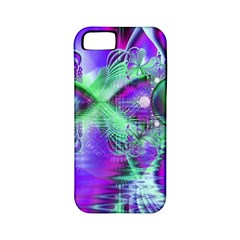 Violet Peacock Feathers, Abstract Crystal Mint Green Apple Iphone 5 Classic Hardshell Case (pc+silicone) by DianeClancy