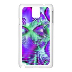 Violet Peacock Feathers, Abstract Crystal Mint Green Samsung Galaxy Note 3 N9005 Case (white) by DianeClancy