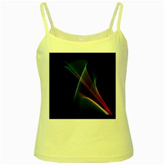 Abstract Rainbow Lily, Colorful Mystical Flower  Yellow Spaghetti Tank by DianeClancy