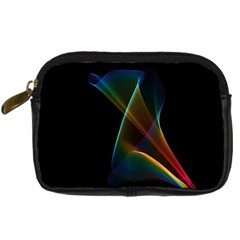 Abstract Rainbow Lily, Colorful Mystical Flower  Digital Camera Leather Case by DianeClancy
