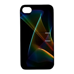 Abstract Rainbow Lily, Colorful Mystical Flower  Apple Iphone 4/4s Hardshell Case With Stand