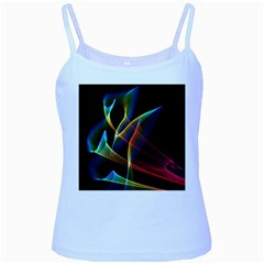 Peacock Symphony, Abstract Rainbow Music Baby Blue Spaghetti Tank by DianeClancy