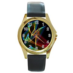 Peacock Symphony, Abstract Rainbow Music Round Leather Watch (gold Rim)  by DianeClancy