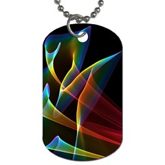 Peacock Symphony, Abstract Rainbow Music Dog Tag (two Sided)  by DianeClancy