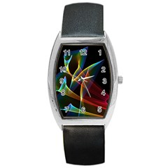 Peacock Symphony, Abstract Rainbow Music Tonneau Leather Watch by DianeClancy