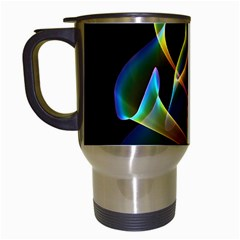 Peacock Symphony, Abstract Rainbow Music Travel Mug (white) by DianeClancy