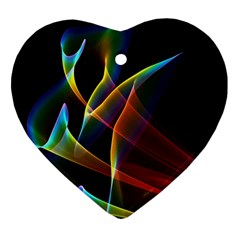 Peacock Symphony, Abstract Rainbow Music Heart Ornament (two Sides)