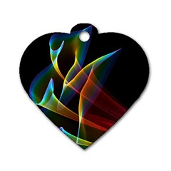 Peacock Symphony, Abstract Rainbow Music Dog Tag Heart (one Sided)  by DianeClancy