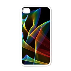 Peacock Symphony, Abstract Rainbow Music Apple Iphone 4 Case (white) by DianeClancy