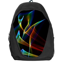 Peacock Symphony, Abstract Rainbow Music Backpack Bag by DianeClancy