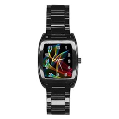 Peacock Symphony, Abstract Rainbow Music Stainless Steel Barrel Watch by DianeClancy