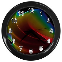 Liquid Rainbow, Abstract Wave Of Cosmic Energy  Wall Clock (black) by DianeClancy