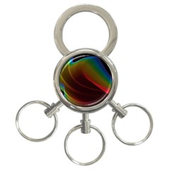 Liquid Rainbow, Abstract Wave Of Cosmic Energy  3 Ring Key Chain by DianeClancy