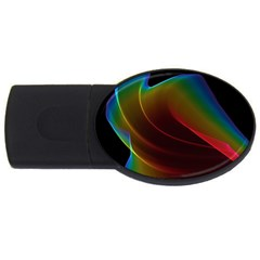 Liquid Rainbow, Abstract Wave Of Cosmic Energy  2gb Usb Flash Drive (oval) by DianeClancy