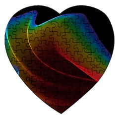 Liquid Rainbow, Abstract Wave Of Cosmic Energy  Jigsaw Puzzle (heart) by DianeClancy
