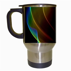 Liquid Rainbow, Abstract Wave Of Cosmic Energy  Travel Mug (white) by DianeClancy
