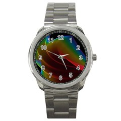 Liquid Rainbow, Abstract Wave Of Cosmic Energy  Sport Metal Watch