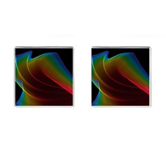 Liquid Rainbow, Abstract Wave Of Cosmic Energy  Cufflinks (square) by DianeClancy