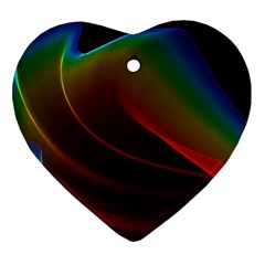 Liquid Rainbow, Abstract Wave Of Cosmic Energy  Heart Ornament (two Sides) by DianeClancy