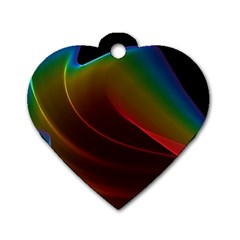 Liquid Rainbow, Abstract Wave Of Cosmic Energy  Dog Tag Heart (one Sided)  by DianeClancy