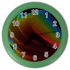 Liquid Rainbow, Abstract Wave Of Cosmic Energy  Wall Clock (color) by DianeClancy