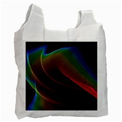 Liquid Rainbow, Abstract Wave Of Cosmic Energy  White Reusable Bag (two Sides) by DianeClancy