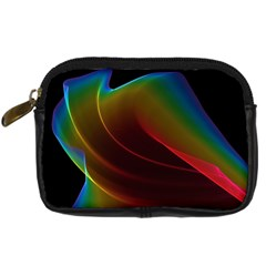 Liquid Rainbow, Abstract Wave Of Cosmic Energy  Digital Camera Leather Case by DianeClancy