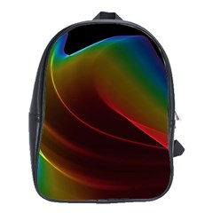Liquid Rainbow, Abstract Wave Of Cosmic Energy  School Bag (large) by DianeClancy