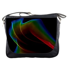 Liquid Rainbow, Abstract Wave Of Cosmic Energy  Messenger Bag by DianeClancy