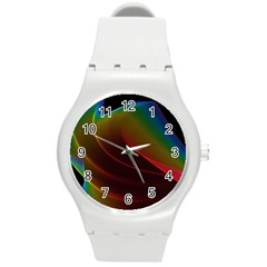 Liquid Rainbow, Abstract Wave Of Cosmic Energy  Plastic Sport Watch (medium) by DianeClancy