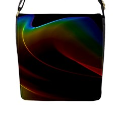 Liquid Rainbow, Abstract Wave Of Cosmic Energy  Flap Closure Messenger Bag (large) by DianeClancy