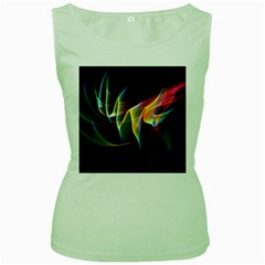 Northern Lights, Abstract Rainbow Aurora Women s Tank Top (green) by DianeClancy