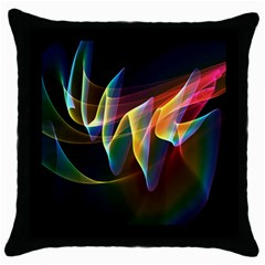 Northern Lights, Abstract Rainbow Aurora Black Throw Pillow Case by DianeClancy