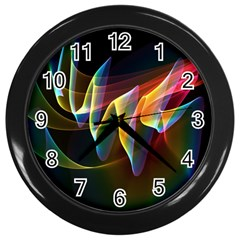 Northern Lights, Abstract Rainbow Aurora Wall Clock (black) by DianeClancy
