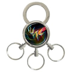 Northern Lights, Abstract Rainbow Aurora 3 Ring Key Chain by DianeClancy