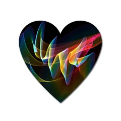 Northern Lights, Abstract Rainbow Aurora Magnet (heart) by DianeClancy