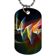 Northern Lights, Abstract Rainbow Aurora Dog Tag (two Sided)  by DianeClancy