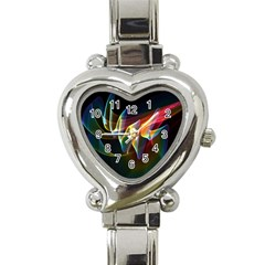 Northern Lights, Abstract Rainbow Aurora Heart Italian Charm Watch  by DianeClancy