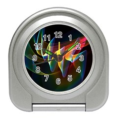 Northern Lights, Abstract Rainbow Aurora Desk Alarm Clock by DianeClancy